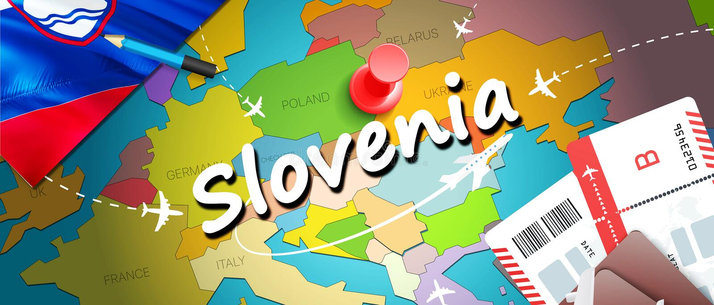 Fondo della mappa di concetto di viaggio della Slovenia con gli aerei, biglietti Viaggio della Slovenia di visita e concetto dell illustrazione di stock
