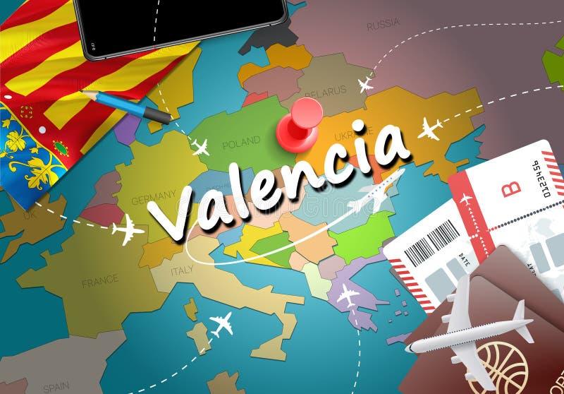 Fondo della mappa di concetto di viaggio di Valencia con gli aerei, biglietti forza royalty illustrazione gratis