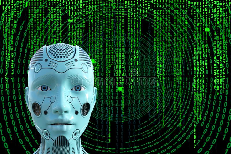 Fondo della matrice di tecnologie informatiche del robot illustrazione di stock