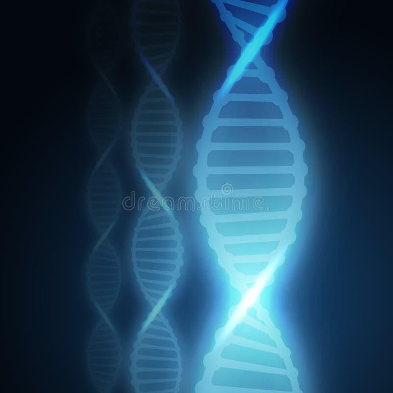 Fondo della molecola del DNA per progettare le farmacie dei siti Web, laboratori, ospedali, cliniche Colore blu illustrazione vettoriale