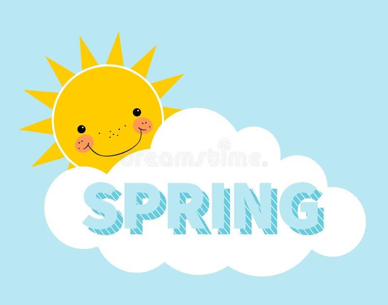 Fondo della molla del fumetto Sun nube Concetto di progetto con il sole sorridente felice illustrazione vettoriale