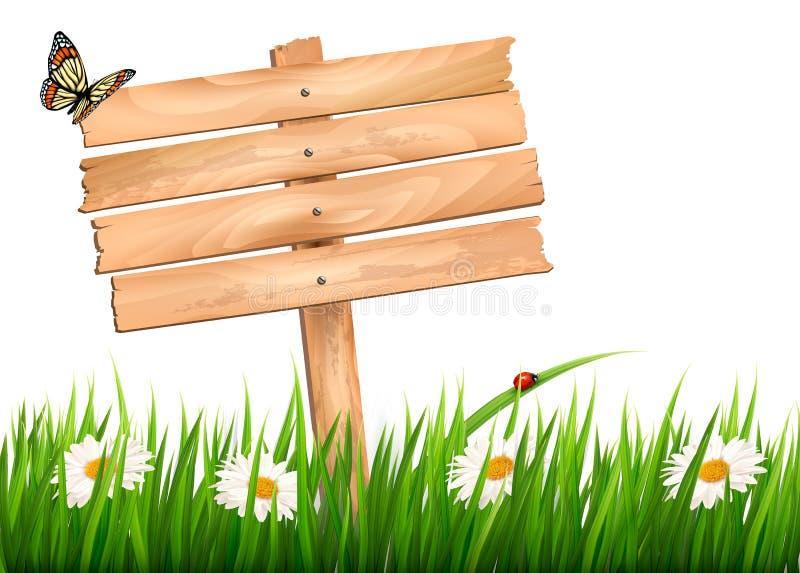 Fondo della natura con erba verde e fiori e segno di legno illustrazione vettoriale