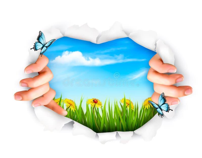 Fondo della natura con le mani che strappano una carta royalty illustrazione gratis