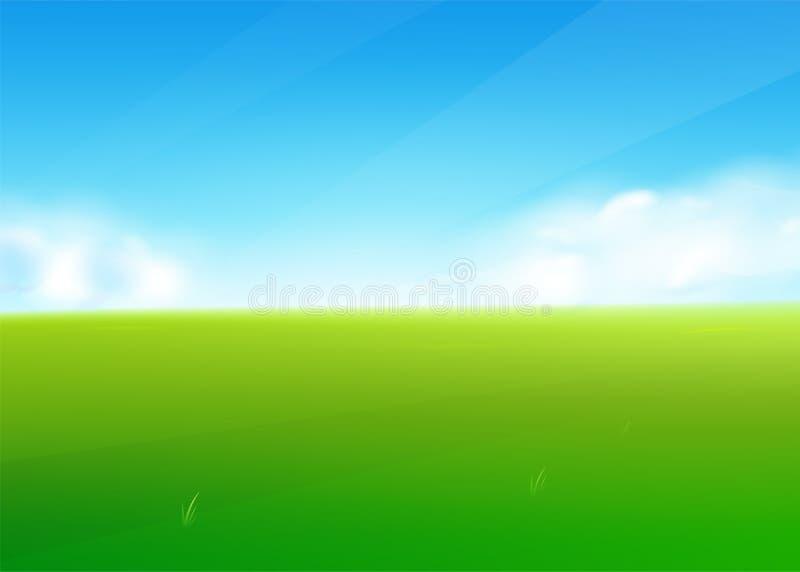 Fondo della natura del giacimento della primavera con il paesaggio dell'erba verde, nuvole, cielo illustrazione vettoriale