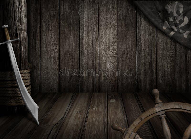 Fondo della nave di pirati con la vecchie bandiera e sciabola allegre di Roger immagini stock