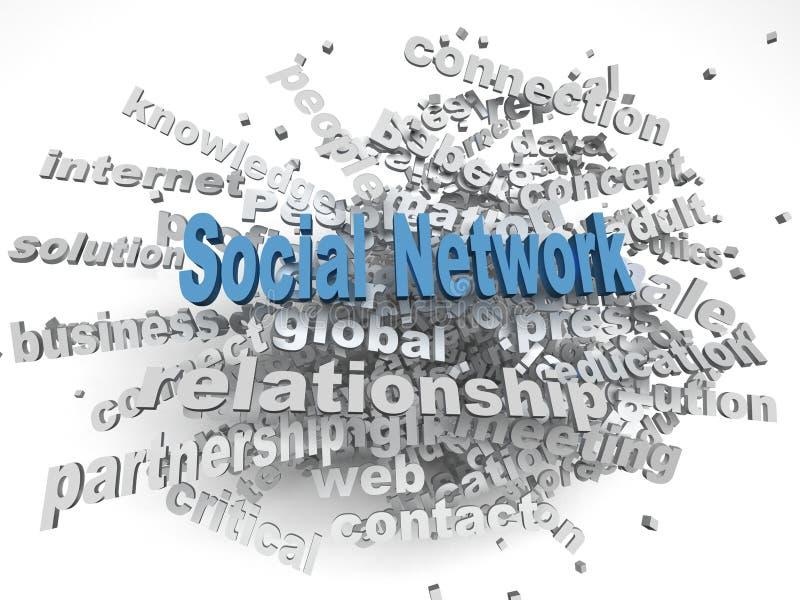 fondo della nuvola di parola di concetto delle edizioni di rete sociale di immagine 3d royalty illustrazione gratis