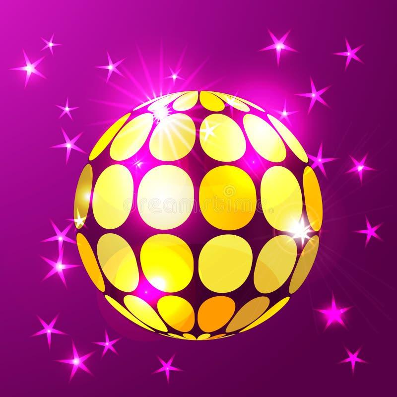 Fondo della palla della discoteca in oro d'ardore illustrazione di stock