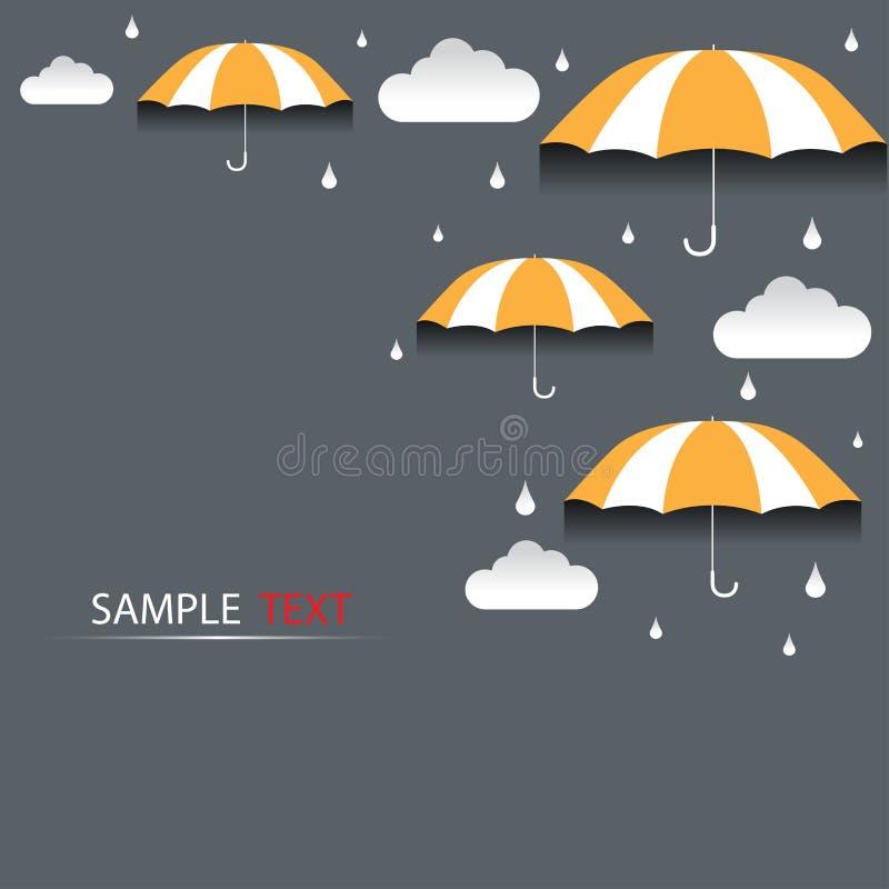 Fondo della pioggia e dell'ombrello royalty illustrazione gratis