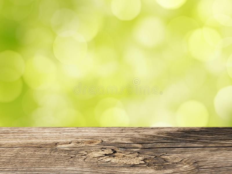 Fondo della primavera con la Tabella di legno vuota fotografie stock