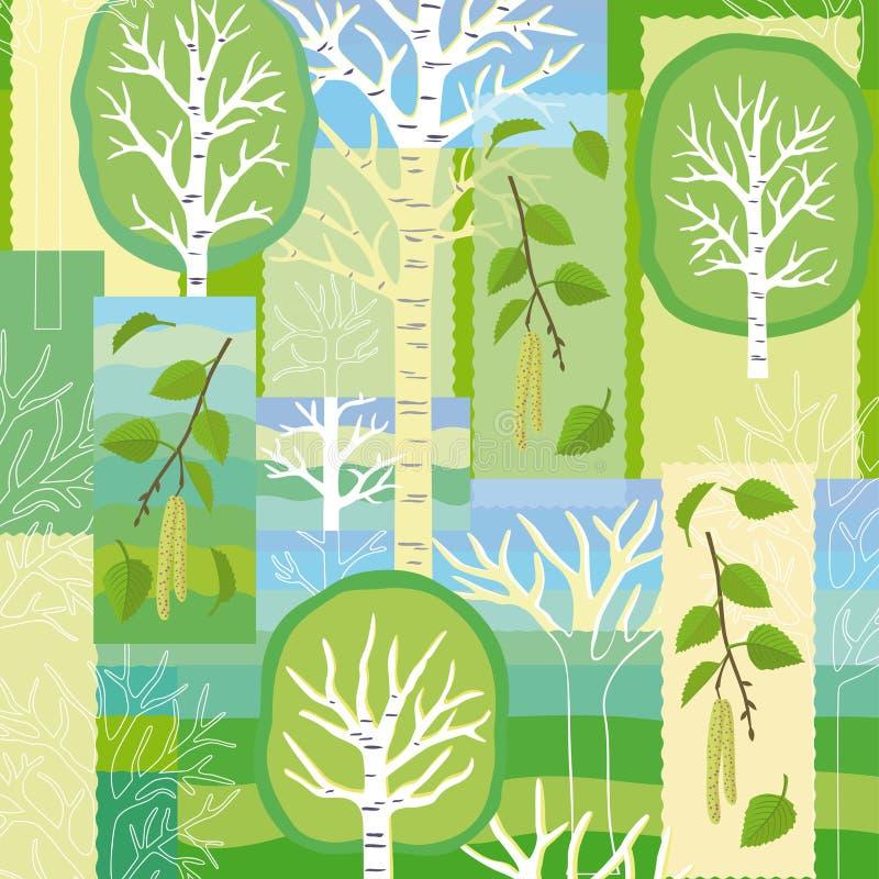 Fondo della primavera con le betulle e i brunes della betulla royalty illustrazione gratis