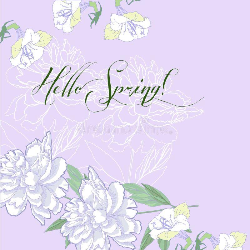 Fondo della primavera con le peonie ed il lillà bianchi illustrazione vettoriale