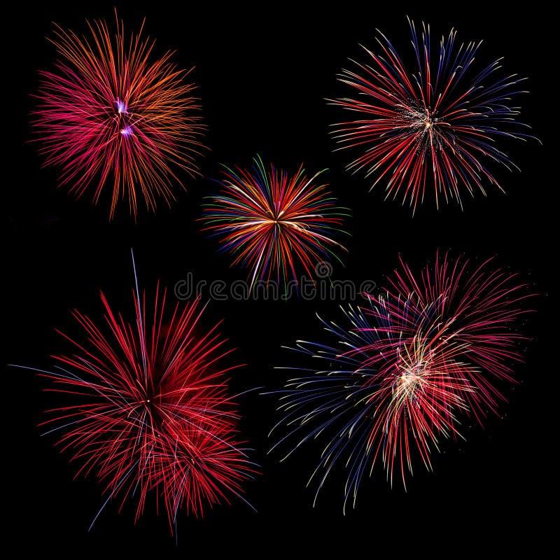 fondo della raccolta del fondo cinque del fuoco d'artificio immagine stock libera da diritti