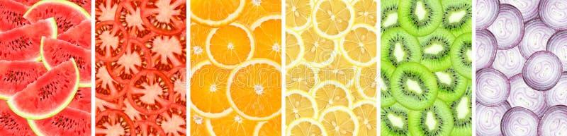 Fondo della raccolta del primo piano affettato dell'arancia, dell'anguria, del kiwi, del limone, della cipolla e del pomodoro fotografia stock libera da diritti
