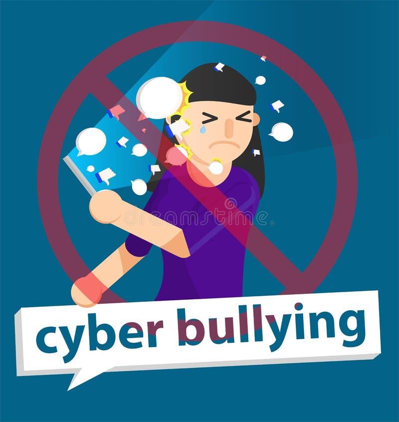 Fondo della ragazza di cyberbullismo illustrazione di stock