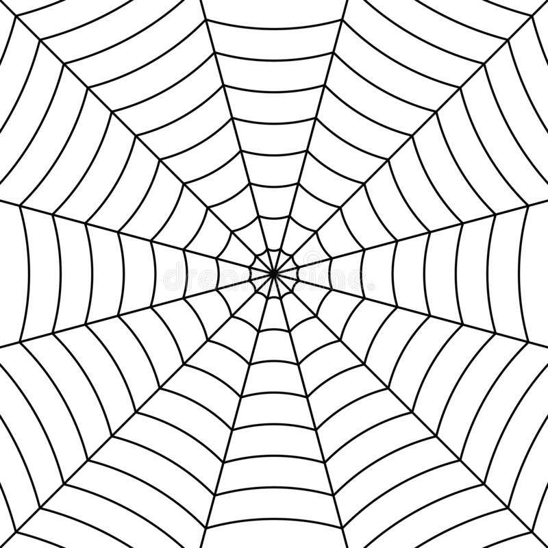 Fondo della ragnatela con il ragno intrecciato nero dei fili, ragnatela simmetrica del modello di vettore per Halloween illustrazione vettoriale
