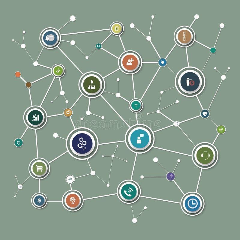 Fondo della rete con i nodi ed i media sociali illustrazione di stock