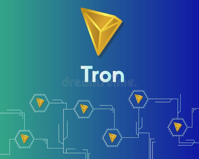 Fondo della rete del circuito del blockchain del tron di Cryptocurrency illustrazione vettoriale