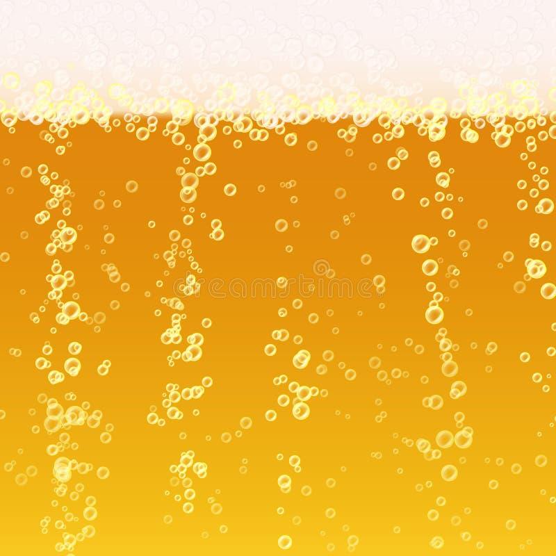 Fondo della schiuma della birra Struttura realistica della birra Luminoso leggero, bolla e liquido Illustrazione di vettore illustrazione di stock