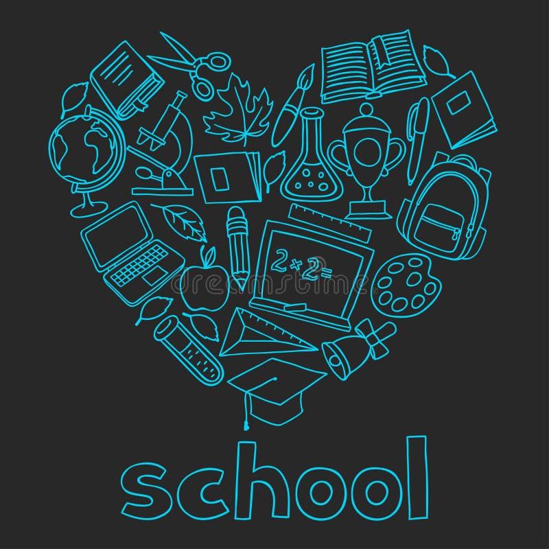 Fondo della scuola con le icone disegnate a mano su gesso royalty illustrazione gratis