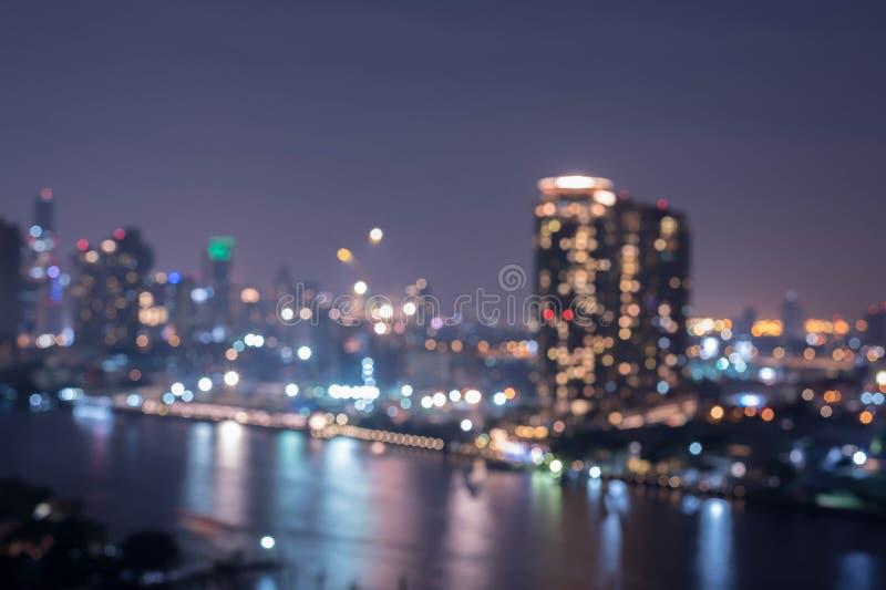Fondo della sfuocatura di Bangkok di paesaggio urbano fotografie stock