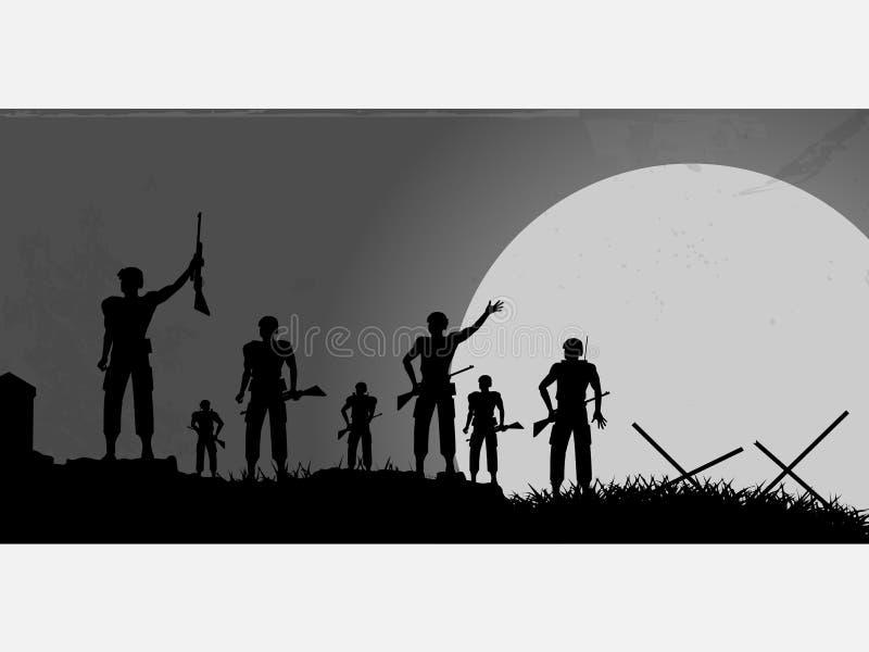 Fondo della siluetta dei soldati con la luna illustrazione di stock