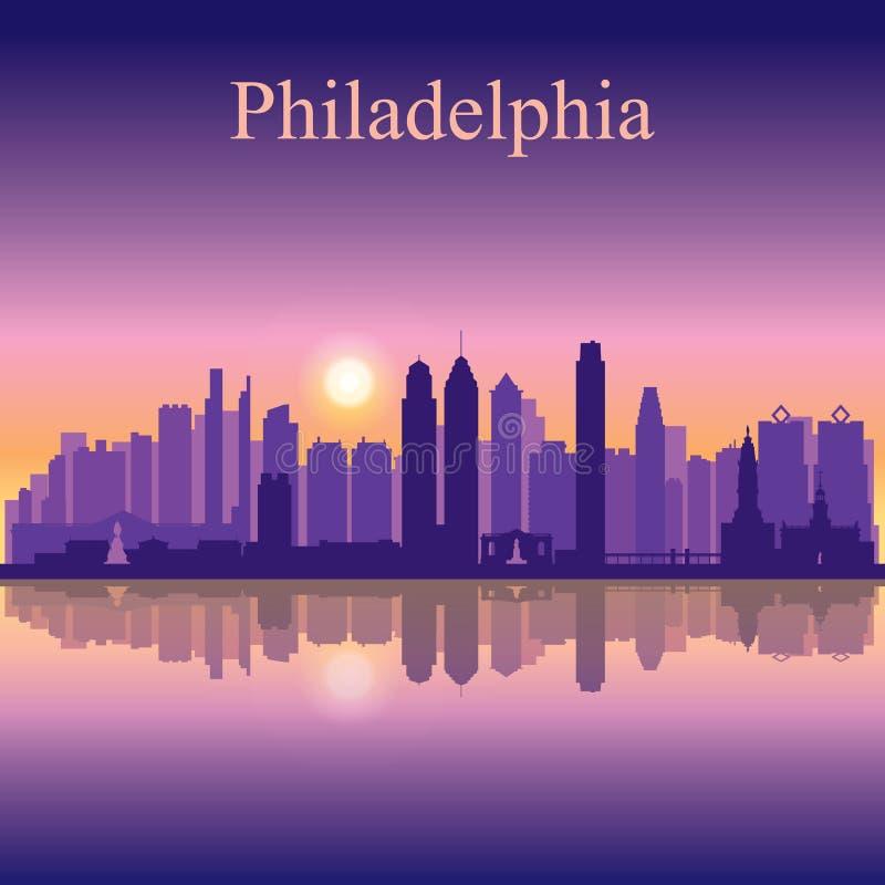 Fondo della siluetta dell'orizzonte della città di Filadelfia illustrazione di stock