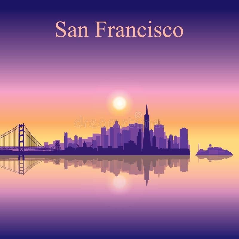 Fondo della siluetta dell'orizzonte della città di San Francisco illustrazione vettoriale