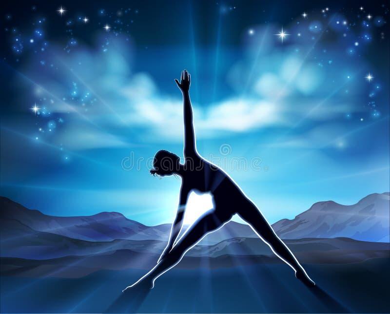 Fondo della siluetta di posa della donna di Pilates di yoga royalty illustrazione gratis