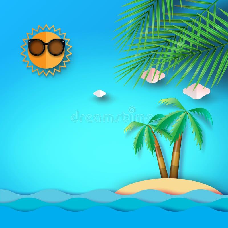 Fondo della spiaggia, del mare e dell'isola di estate con il cocco royalty illustrazione gratis