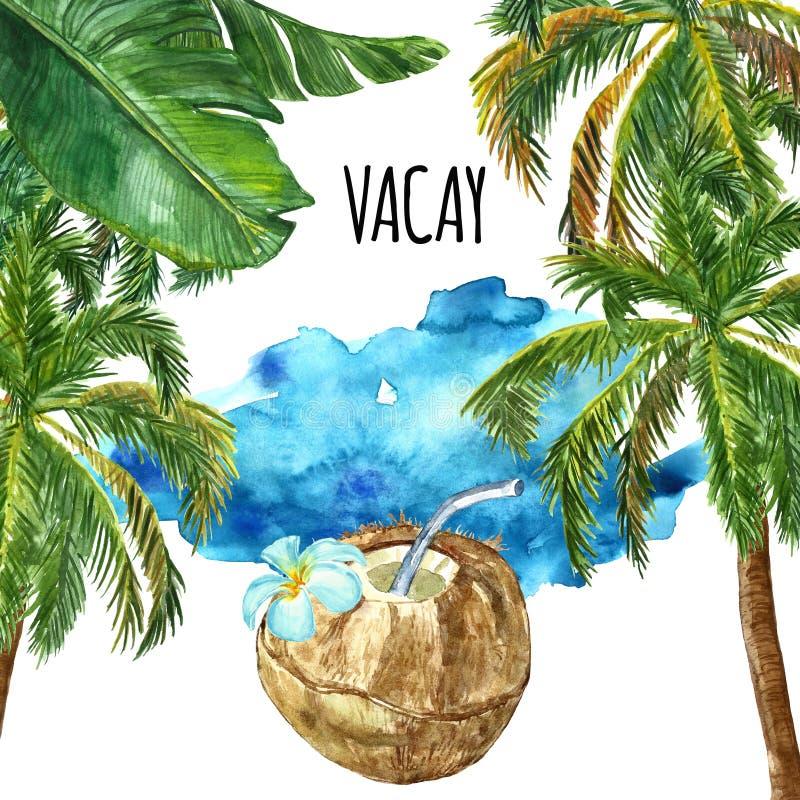 Fondo della spiaggia di estate dell'acquerello con le palme, la foglia verde tropicale, il cocktail della noce di cocco e la stru fotografia stock libera da diritti