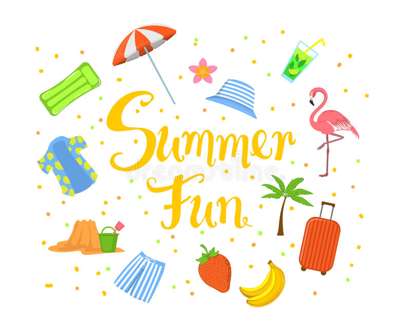 Fondo della spiaggia di estate scritto mano di divertimento di estate con la banana, la fragola, la camicia dell'Hawai dell'uomo  illustrazione di stock