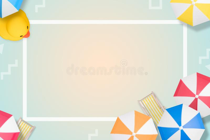 Fondo della spiaggia di vista superiore con gli ombrelli Stile moderno stile piano di disposizione Vista superiore Copi lo spazio illustrazione di stock