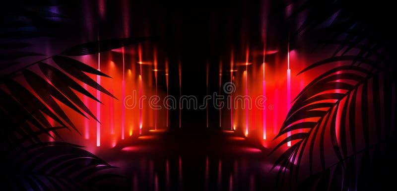 Fondo della stanza scura, tunnel, corridoio, luce al neon, lampade, foglie tropicali royalty illustrazione gratis