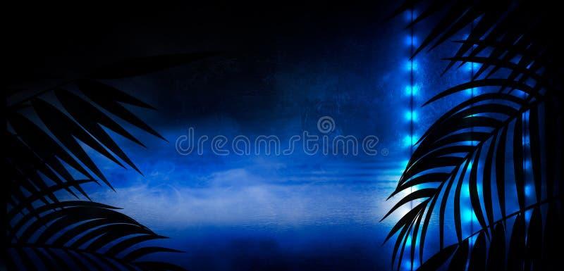 Fondo della stanza scura, tunnel, corridoio, luce al neon, lampade, foglie tropicali illustrazione vettoriale
