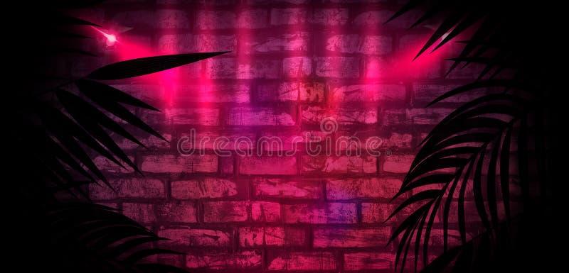 Fondo della stanza scura, tunnel, corridoio, luce al neon, lampade, foglie tropicali illustrazione di stock