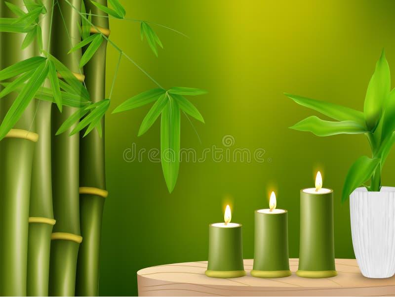 Fondo della stazione termale con bambù e le candele illustrazione vettoriale
