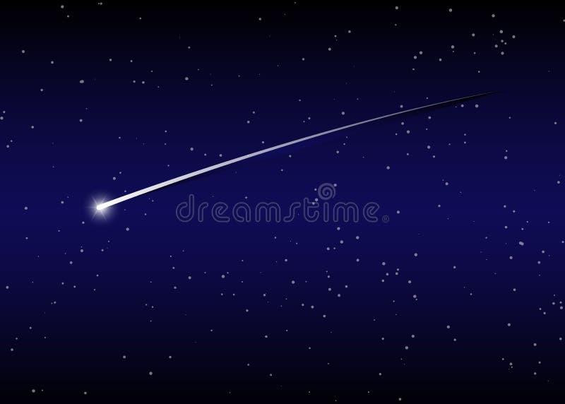 Fondo della stella cadente contro cielo notturno stellato blu scuro, illustrazione di vettore illustrazione vettoriale