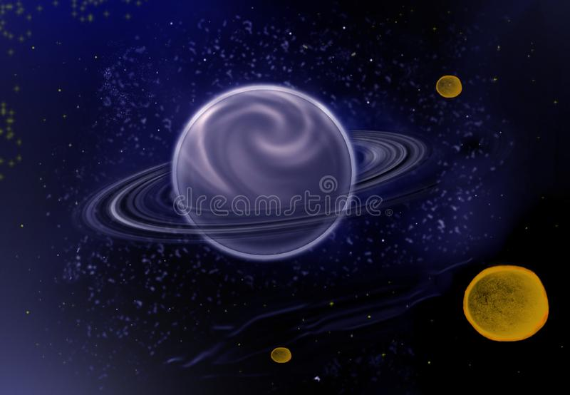 Fondo della stella con i pianeti illustrazione vettoriale