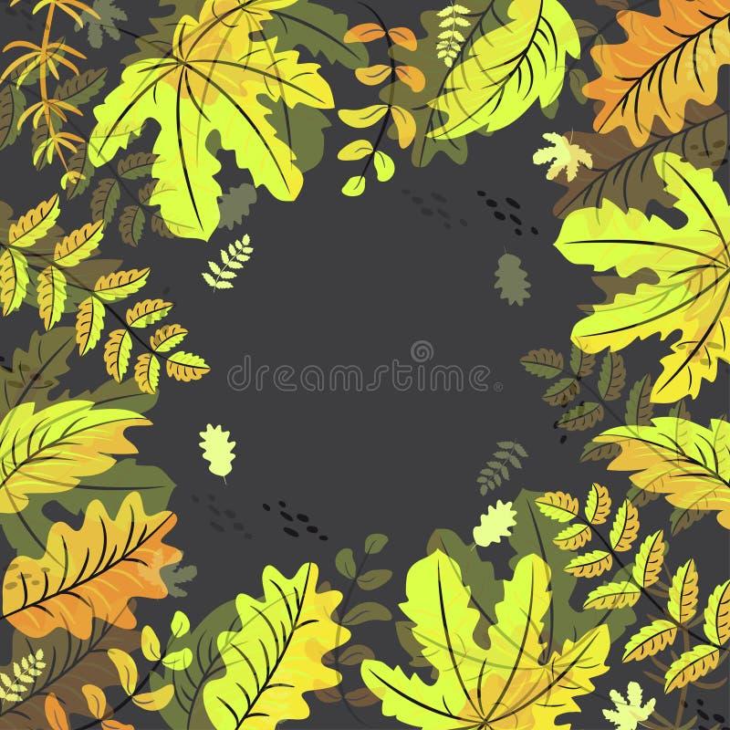 Fondo della struttura delle foglie di autunno su fondo nero illustrazione vettoriale