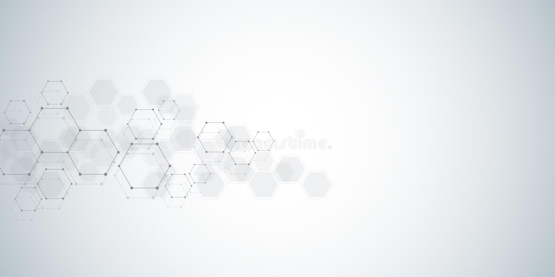 Fondo della struttura molecolare Fondo astratto con il DNA della molecola Forma geometrica con gli esagoni illustrazione vettoriale