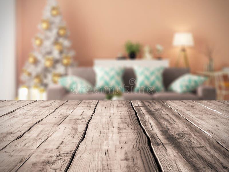 Fondo della Tabella ed interno del salone moderno con la rappresentazione dell'albero di Natale 3D immagine stock