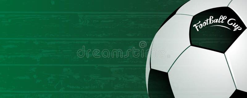 Fondo della tazza di calcio Palla classica sul fondo del campo di verde di lerciume Concetto nazionale di evento della concorrenz illustrazione di stock