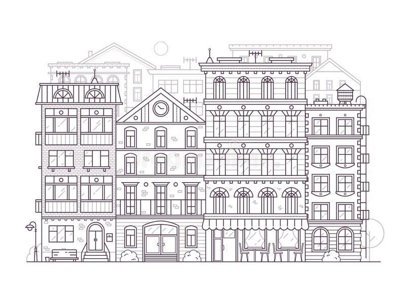 Fondo della via della città di Europa nella linea arte illustrazione di stock