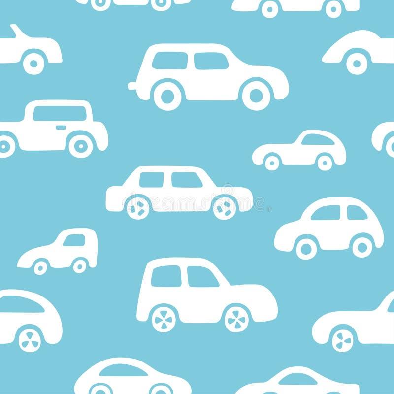 Fondo delle automobili di scarabocchio Modello senza cuciture del neonato nel vettore illustrazione di stock
