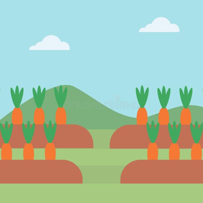 Fondo delle carote che crescono sul campo illustrazione di stock
