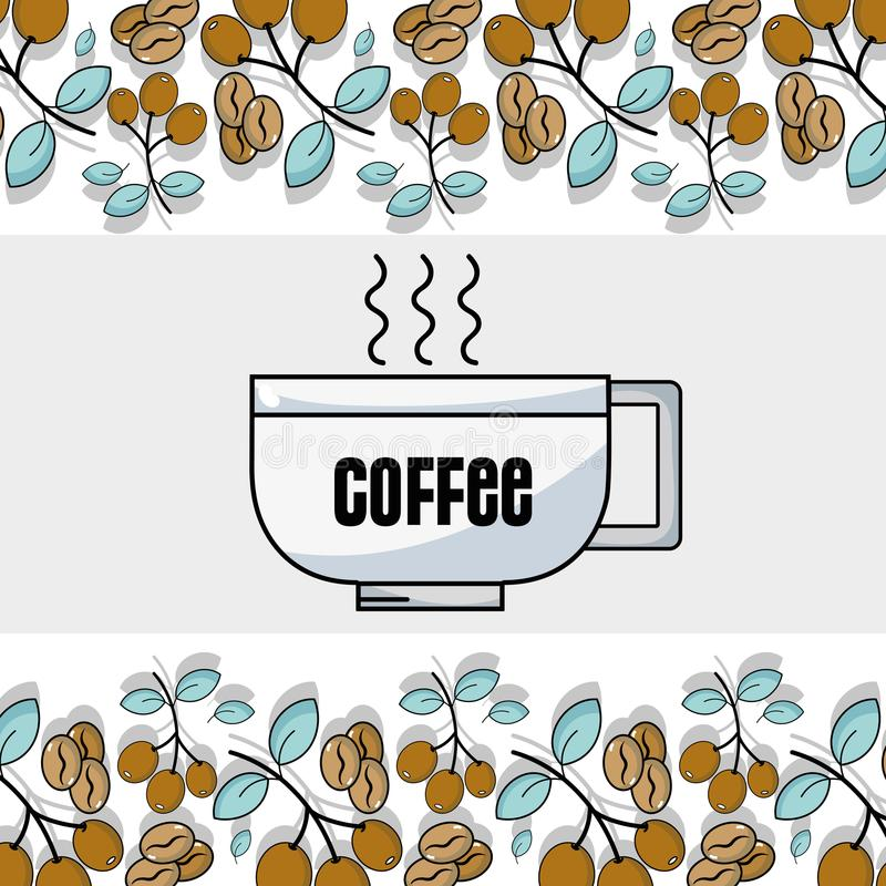Fondo delle foglie e dei grani del wiith della tazza e della pianta di Coffe illustrazione vettoriale