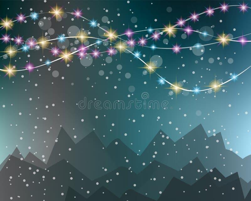Fondo delle luci di Natale per le vostre carte da parati stagionali, illustrazione vettoriale