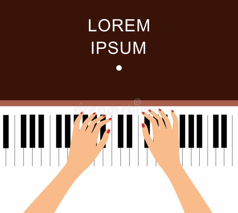 Fondo delle mani sulle chiavi del piano Il piano chiude a chiave le mani del pianista Musica ed arte classica, Pop art di creativ royalty illustrazione gratis