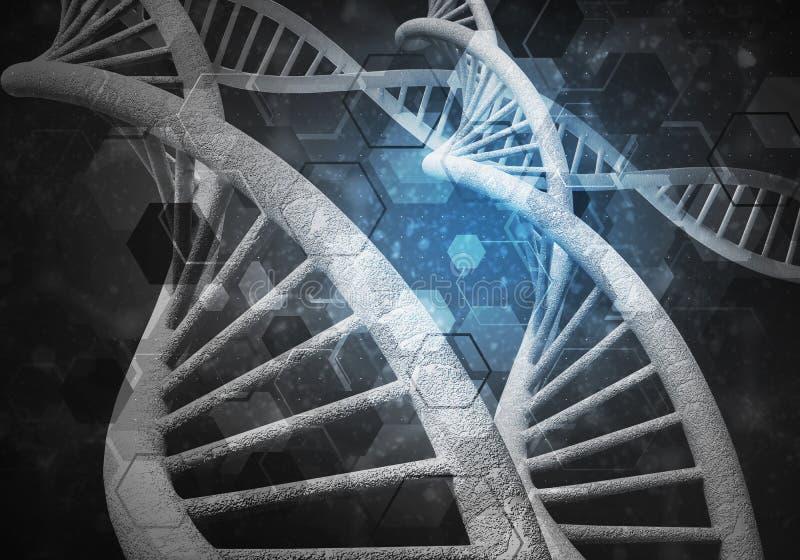 Fondo delle molecole del DNA, rappresentazione 3D illustrazione di stock