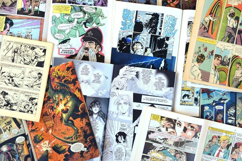 Fondo delle riviste dei fumetti fotografia stock